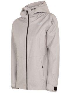 Jachetă de oraș pentru femei KUD301 - gri înspicat lumină melanj