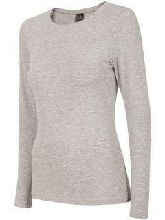 Tricou cu mânecă lungă pentru femei TSDL300 - gri înspicat lumină melanj