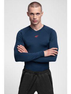 Tricou cu mânecă lungă de antrenament pentru bărbați TSMLF300 - bleumarin melanj
