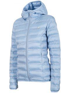 Jachetă din puf pentru femei KUD002 - albastru deschis melanj