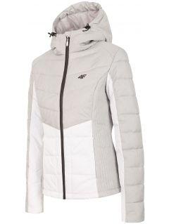 Jachetă din puf pentru femei KUD007 - gri înspicat lumină melanj