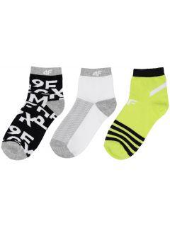Șosete pentru băieți (30-38) JSOM200 - negru+alb+verde deschis