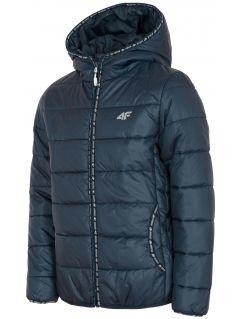 Jacheta cu puf pentru copii mari (fete) JKUDP201 - bleumarin