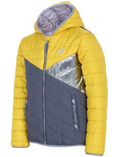 Jacheta cu puf pentru copii mari (fete) JKUDP202 - galben