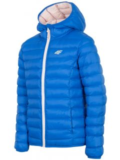 Jacheta cu puf pentru copii mari (fete) JKUDP206A - cobalt