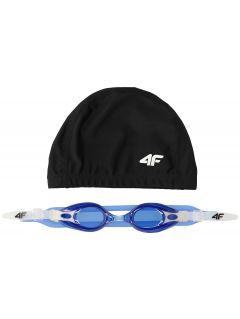 Cască + ochelari înot pentru copii mari (băieți) JSETM400 - bleumarin