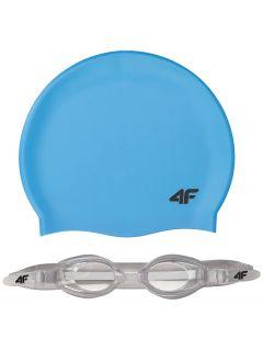 Cască + ochelari înot pentru copii mari (băieți) JSETM401 - albastru