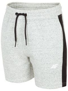 Pantaloni scurți de molton pentru copii mari (băieți) JSKMD200 - gri înspicat lumină