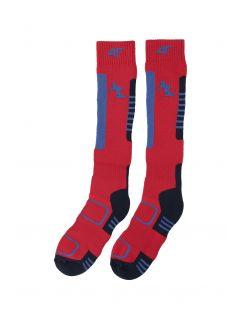 Șosete de schi pentru copii mari (băieți) JSOMN401 - roșu