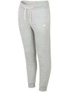 Pantaloni de molton pentru copii mari (fete) JSPDD201B - gri înspicat lumină melanj