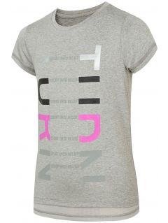 Tricou de sport pentru copii mari (fete) JTSD401 - gri înspicat lumină
