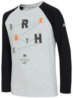 Tricou cu mânecă lungă pentru copii mari (băieți) JTSML220 - gri înspicat lumină  melanj