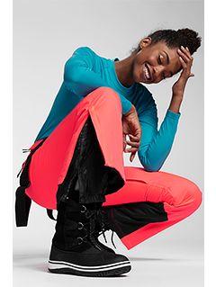Pantaloni de schi pentru femei SPDN201 - somon roz neon