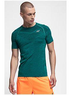 Tricou de antrenament pentru bărbați TSMF258 - verde închis melanj