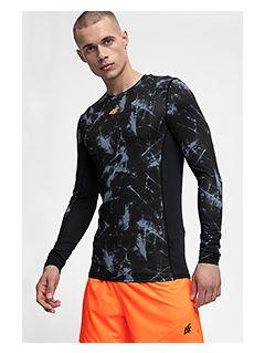 Tricou de antrenament cu mânecă lungă pentru barbați TSMLF250 - negru allover