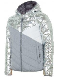 Jacheta cu puf pentru copii mari (fete) JKUDP202 - argintiu