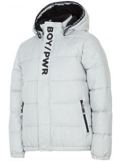 Jacheta cu puf pentru copii mari (băieți) JKUM202 - gri melanj