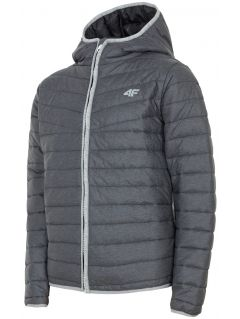 Jacheta cu puf pentru copii mari (băieți) JKUMP201 - antracit melanj