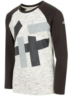 Tricou cu mânecă lungă pentru copii mari (băieți) JTSML221 -  gri înspicat lumină