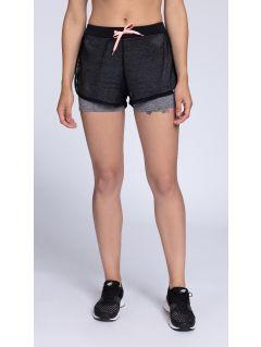 Pantaloni scurti de antrenament pentru femei SKDF002 - melanj gri inschis