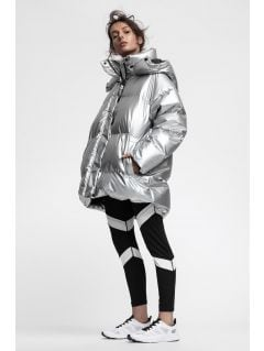 Jachetă din puf pentru femei KUDP220 - argintiu
