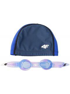 Cască + ochelari înot pentru copii mari (fete) JSETD400 - bleumarin