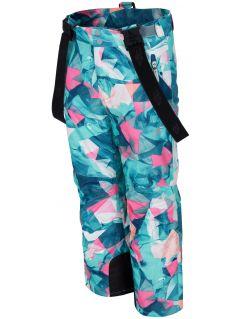 Pantaloni de schi pentru copii mari (fete) JSPDN402 - mentă allover
