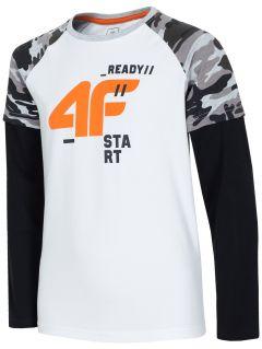 Tricou cu mânecă lungă pentru copii mari (băieți) JTSML219 - alb