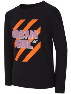 Tricou cu mânecă lungă pentru copii mari (fete) JTSDL204 - negru