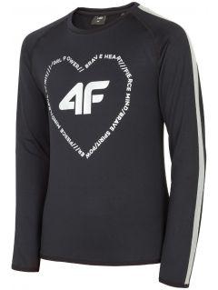 Tricou de sport cu mânecă lungă pentru copii mari (fete) JTSDL400 - negru