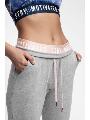 Pantaloni de molton pentru femei SPDD400 - gri înspicat lumină melanj